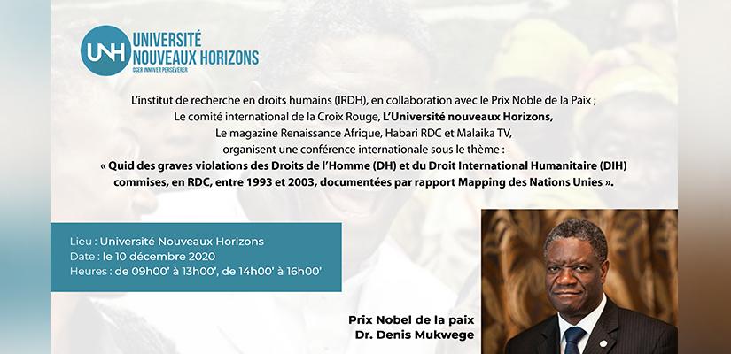 """Conférence sur le thème de """"Quid des graves violations des Droits de l'Homme (DH)et du Droit International Humanitaire (DIH) commises en RDC, entre 1993 et 2003,documentées par le rapport Mapping des Nations Unies"""